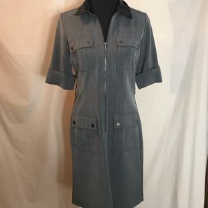 Sharagano grey dress with zip front and pockets